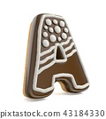 Letter A chocolate Christmas gingerbread font  43184330