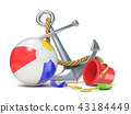 Steel anchor, beach ball and saving belt 3D 43184449