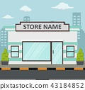 Flat design store front with place for name 43184852