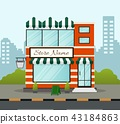 Flat design store front with place for name 43184863
