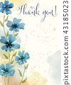 """"""" Thank you"""" watercolor floral card 43185023"""