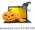 Laptop with Jack O Lantern and Halloween hat 3D 43185189