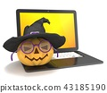 computer, notebook, halloween 43185190