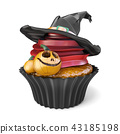 Halloween muffin Jack O'Lantern and witch hat 3D 43185198