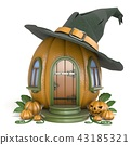 Halloween pumpkin house with witch hat 3D 43185321