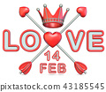 Love Cupid's arrows and Valentine's day date 3D 43185545