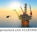 Oil platform and helicopter 43185906