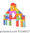 Plastic toy blocks, little castle front. 3D 43186017