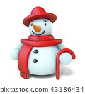 Snowman with red hat, scarf and stick 3D 43186434