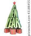 Abstract Christmas tree words HAPPY NEW YEAR 43186455