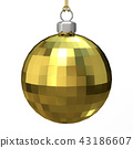Gold Christmas ball. 3D 43186607