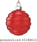 Red Christmas ball isolated on white background 3D 43186614