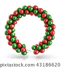 Red and green balloons wreath 43186620