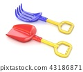 Plastic toy spade and rake. 3D 43186871