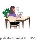 컴퓨터를하는 여자 일러스트 영어 온라인 수업 43186955