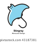 Stingray Monocolor Illustration 43187381