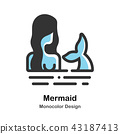 Mermaid Monocolor Illustration 43187413