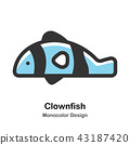 Clownfish Monocolor Illustration 43187420