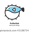 Pufferfish Monocolor Illustration 43188734