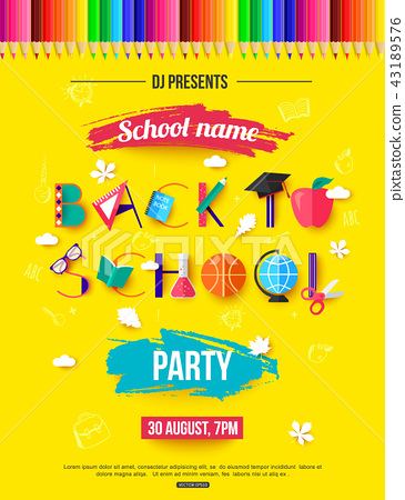 Back to School Party Invitation. Design with... - Stock ...