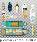 Fisherman boats and wooden sailboat with paddles 43190834