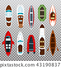 Fisherman boats and wooden sailboat with paddles 43190837