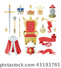 Royalty vector golden royal crown symbol of king queen and princess illustration sign of crowning 43193765