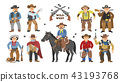 Cowboy vector western cow boy on wildly horse character for rodeo and wild west sheriff in hat 43193768