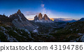 Mliky way over the Tre Cime, Dolomites, Italy 43194786