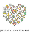 Vector gambling and casino thin line icons in heart shape design concept. Illustration for 43194916