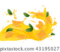 Juice milk yogurt orange slices splashing.  43195027