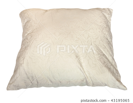 used creamy colour pillow isolated on white 43195065