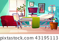 Hospital ward room interior vector illustration 43195113