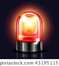 Siren red alarm light 3D vector illustration 43195115