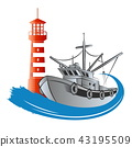 Fishing trawler and lighthouse 43195509