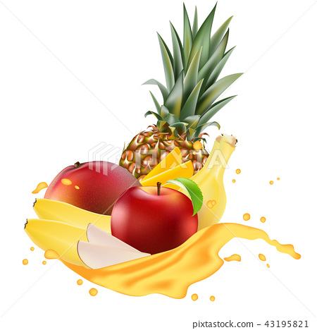 Vector ads 3d promotion banner, Realistic mango,  43195821