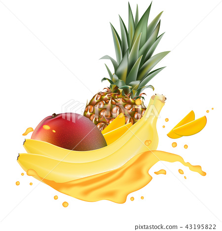Vector ads 3d promotion banner, Realistic mango  43195822