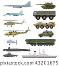 Military technics vector army transport plane and armored tank or helicopter illustration technical 43201675
