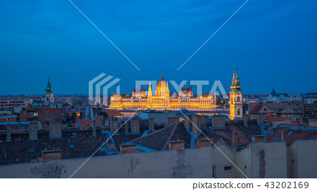 Budapest city skyline in Hungary at night 43202169
