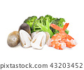 broccoli,shrimps,straw mushroom  isolated  43203452
