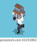 Isometric businessman carrying a house on his back 43203862