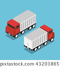 Isometric red truck with white trailer 43203865