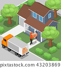 Delivery man shipping products to customer at home 43203869