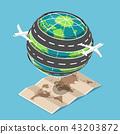 Plane and road circled around the world 43203872