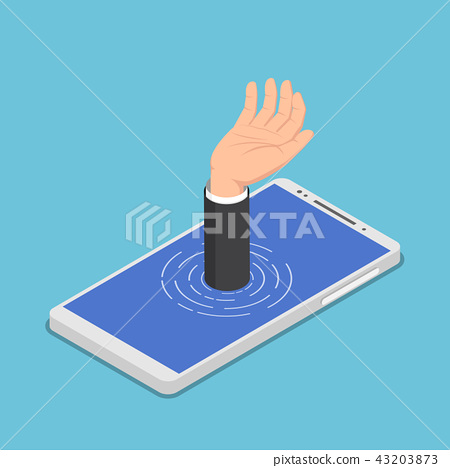 Businessman hand get drowned in smartphone 43203873