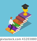 Businessman walking on book ladder to the trophy 43203880