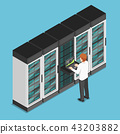 Businessman working on laptop in database center 43203882