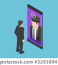 Businessman use face scaning to unlock smartphone 43203894