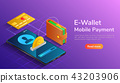 Wallet credit card connected and transfer money 43203906