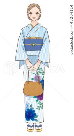 일본 옷을 입은 여성의 일러스트 43204114